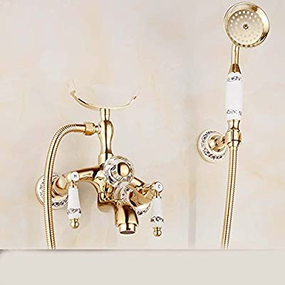 European style all copper gold-plated ceramic hot and cold simple shower, retro bathtub, shower