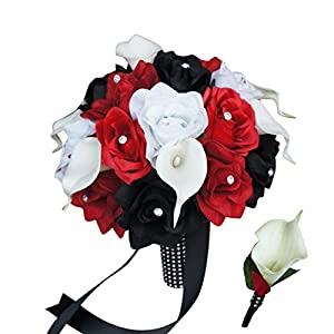 Bouquet & Boutonniere Set:black and Red Rose and White Calla Lily Bridal Wedding 49