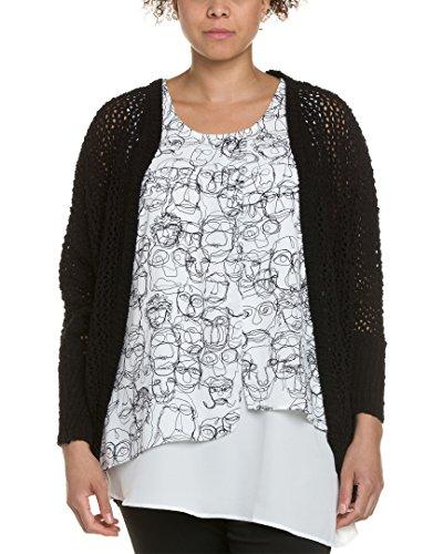 Melissa McCarthy Seven7 Women's Plus-Size Open Stitch Cocoon, Black, 1X