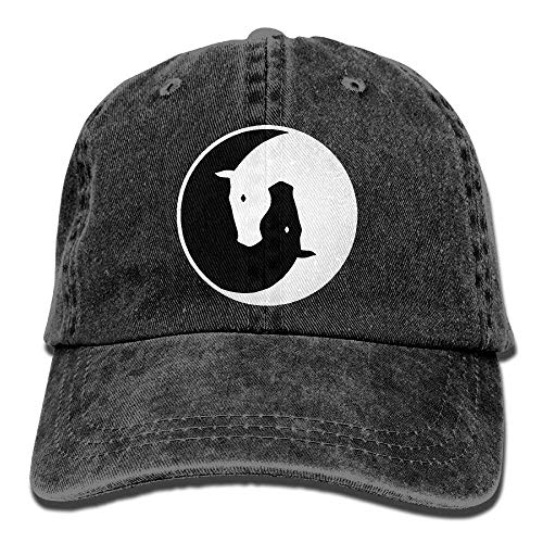 Yin Yang Horses Unisex Baseball Cap Cotton Denim Adjustable Hunting Cap for Men Or Women