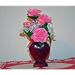 Valentine Day Decor, Heart Floral Arrangement Table Decoration, Romance of My Heart, Ready to Ship!