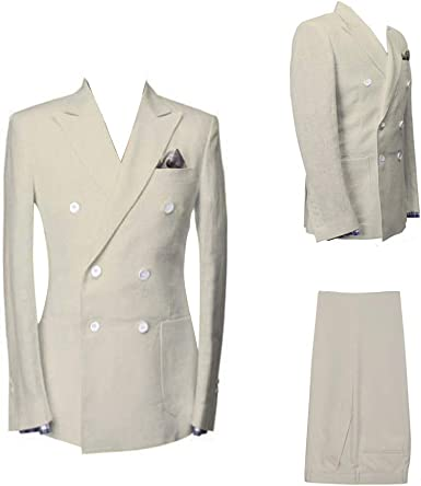 Mens 3 Piece Double Breasted Burgundy Check Pinstriped 8 Buttons Slim Fit Suits Blazer Vest Flat Front Pant