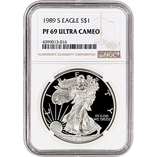 1989 S American Silver Eagle Proof (1 oz) Large Label $1 PF69 NGC UCAM