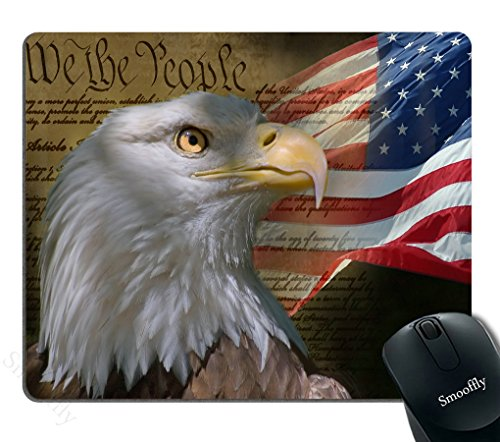 Smooffly Bald Eagle on American Flag Mouse Pad,Gaming Mouse Pad Custom, Vintage USA Flag American Patriotic Eagle Quotes ()