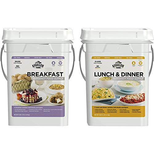 Augason Farms Breakfast/Lunch & Dinner Variety Pack High Quality 254 Servings Emergency Food Supply Storage Pails, 2 ()