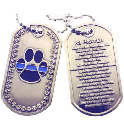 K-9 Prayer Brushed Steel Dog Tag by PoliceTees (Image #1)