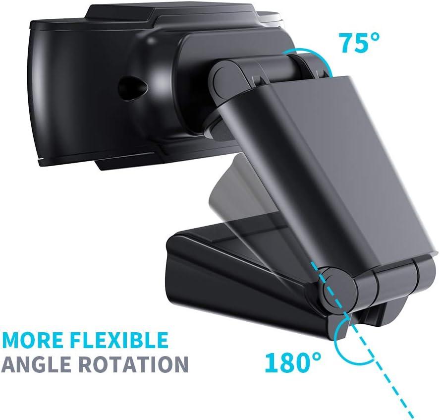 Spielen mit drehbarem Clip Konferenzen Studieren Aufzeichnen PC Laptop Desktop USB 2.0 Full HD Webkamera f/ür Videoanrufe COOAU 1080P Webcam mit Mikrofon