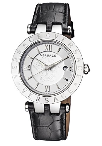 Versace Women's 'V-Race' Swiss Quartz Stainless Steel and Leather Casual Watch, Color:Black (Model: VCL010016)