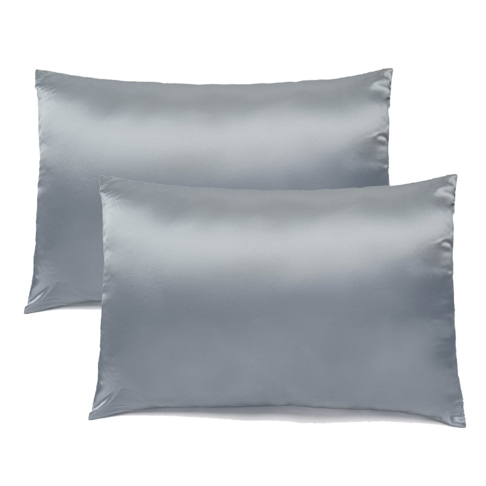 FabricMCC Silk Pillowcase, Hypoallergenic Queen Size Pillow Case with Zipper, Satin Pillowcases for Curly Hair & Dry Skin, Set of 2 (grey)