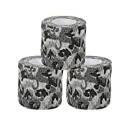Uning Self-adhesive Protective Camouflage Tape Wrap 5CM x 4.5M Tactical Camo Form Multi-functional Non-woven Fabric Stealth Tape Stretch Bandage for Outdoor Military Hunting (Pack of 3) (Camouflage 6)