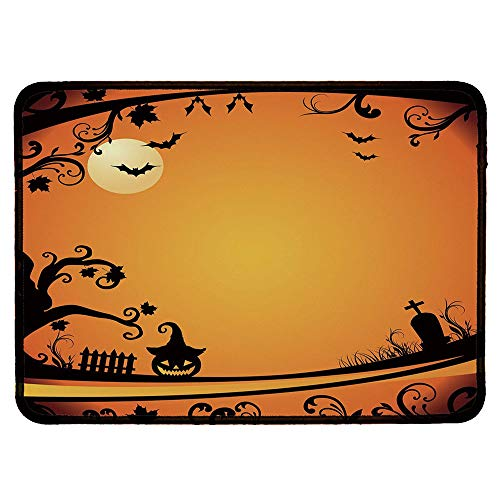 Vintage Halloween Ordinary Mouse Pad,Halloween Themed Image Eerie Atmosphere Gravestone Evil Pumpkin Moon Decorative for Computers Laptop Office & Home,9.84''Wx11.81''Lx0.12''H