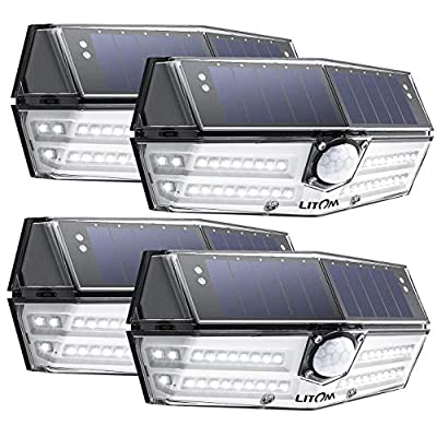 LITOM Premium 40 LED Solar Lights Outdoor, 3 Optional Modes Wireless Motion Sensor Light with 270° Wide Angle, IP67 Waterproof, Easy-to-Install Security Light for Front Door, Yard, Garage, Deck