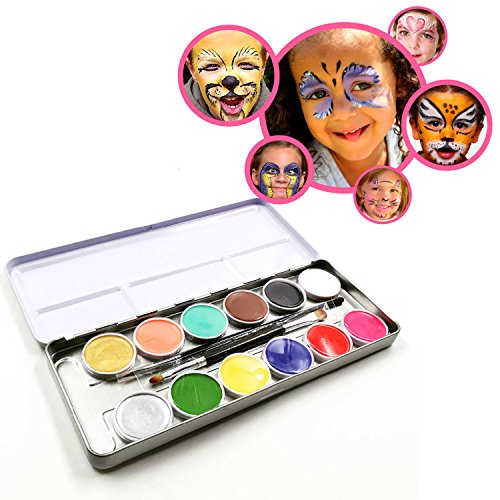 EASY KIDS FACE PAINTING KITS - Top Quality Professional Face Paint Set with 12 Colors, 2 Brushes, Free Stencils, Glitter Gel, Non-Toxic Oil-Based Skin Friendly Face Paint in Metal Case (Halloween Face Paint Ideas For Adults)