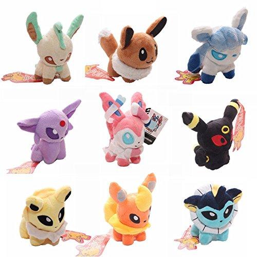 Cutepower Stuffed Plush Toys Set, Pack of 9 Umbreon Sylveon Eevee Espeon Jolteon Vaporeon Flareon Glaceon Leafeon