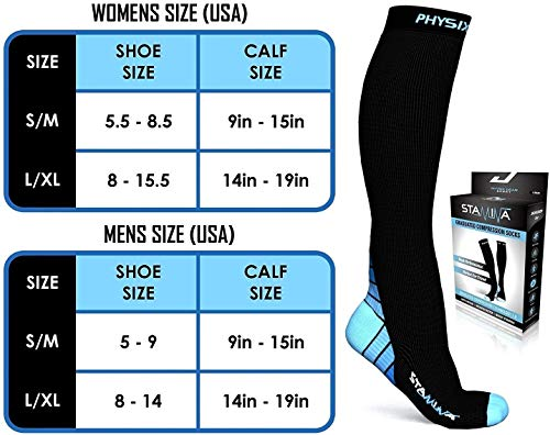 3 Pack Compression Socks for Men & Women 20-30 mmhg, Best Graduated Athletic Fit for Running Nurses Shin Splints Flight Travel & Maternity Pregnancy - Boost Stamina Circulation & Recovery BLU LXL by Physix Gear Sport (Image #5)