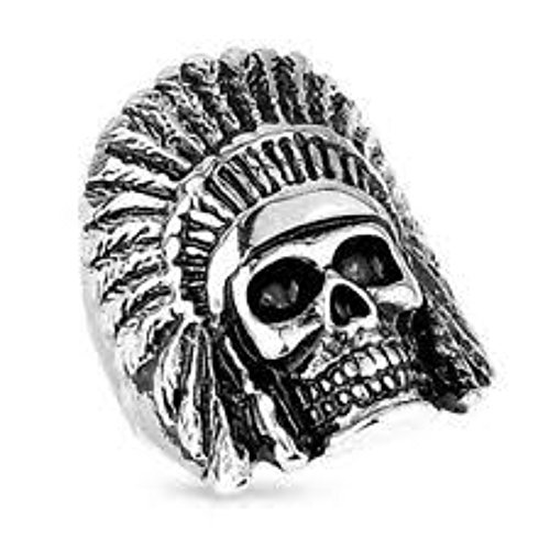 - Inspiration Dezigns Big Biker Tribal Skull Ring For Man Stainless Steel Size 13