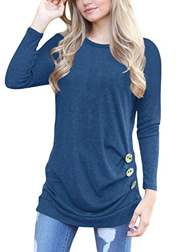 Mixmax Women Long Sleeve Loose Button Trim Blouse Solid Color Round Neck Tunic T-Shirt Top (Medium, Blue)