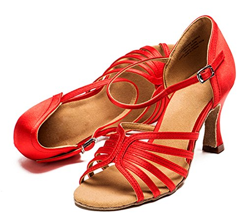 Tda Womens Fashion Peep Toe Enda Rem Väva Stil Satin Salsa Tango Samba Moderna Latinska Dansskor 7,5 Cm Röd