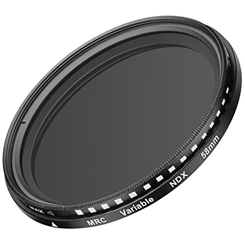 Neewer 58MM Ultra Slim ND2-ND400 Fader Neutral Density Adjustable Lens Filter for Camera Lens with 58MM Filter Thread Size, Made of Optical Glass and Aluminum Alloy Frame