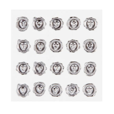 David Tutera Illusion Wax Seal Heart Stickers - 60 Silver Stickers