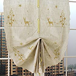 ZHH 1 Panel Christmas Elk Embroidered Linen Tie-Up Roman Shade Curtain