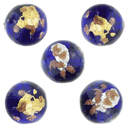 Murano Glass Bead, Cobalt Blue, Round 8mm with Gold, Silver and Aventurina, 5 Pieces Gold Lampwork Beads