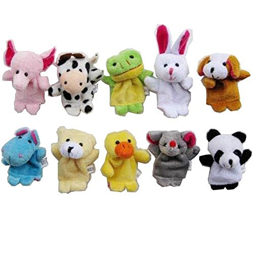 (Carejoy Cute 10pcs Velvet Animal Style Finger Puppets Set)
