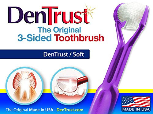 DenTrust 3-Sided Surround Toothbrush : Soft : Easy Complete Teeth Cleaning