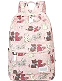 Myosotis510 Lightweight Canvas Preppy Style Cute Cat School Backpack Laptop Bag for Girls