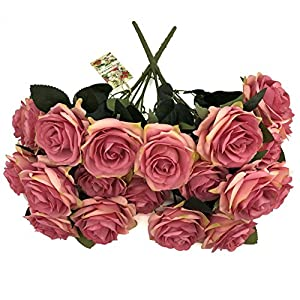 DALAMODA Magenta 2 Bundles (with Total 20 Heads) Rose Flower Bouquet, for DIY Any Decoration Artificial Silk Flower(Magenta)