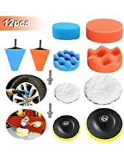 12PCS 3 inch/5 inch Polishing Pads Sponge Buffing Pads Waxing Pads with M10 Drill Adapter for Car Polishe