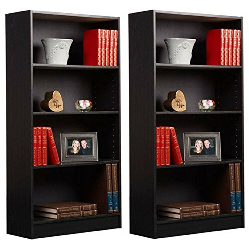 Mylex Orion 4-Shelf Bookcase, Black, Set of 2