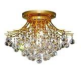 Elegant Lighting 8000F19G/RC Toureg 14-Inch High 6-Light Flush Mount, Gold Finish with Crystal (Clear) Royal Cut RC Crystal
