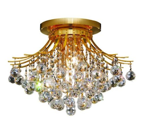 Elegant Lighting 8000F19G/RC Toureg 14-Inch High 6-Light Flush Mount, Gold Finish with Crystal (Clear) Royal Cut RC (Royal Gold Finish)