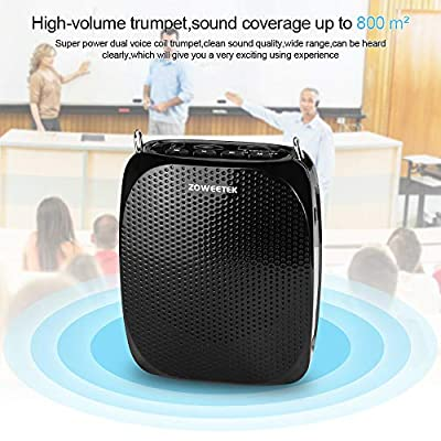 ZOWEETEK Voice Amplifier with UHF Wireless Microphone Headset, 10W 1800mAh Portable Rechargeable PA system Speaker for Multiple Locations such as Classroom, Meetings, Promotions and Outdoors from ZOWEETEK