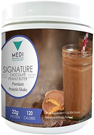 Medi-Weightloss Chocolate Peanut Butter 3 Protein Blend Shake Powder – High Protein 25g – for Hunger Control During Diet Weight Loss – 1 lb Canister