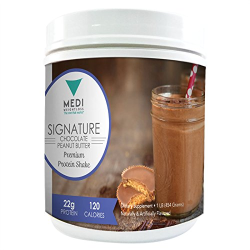 Medi-Weightloss Chocolate Peanut Butter 3 Protein Blend Shake Powder - High Protein (25g) - For Hunger Control During Diet/Weight Loss - 1 lb canister by Medi-Weightloss