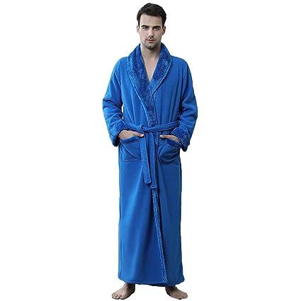 Amazon.com: Elegant Thicked Bathrobe for Men Coral Fleece Dressing Gown Sauna Gown (Color : Dark Blue, Size : XL): Home & Kitchen
