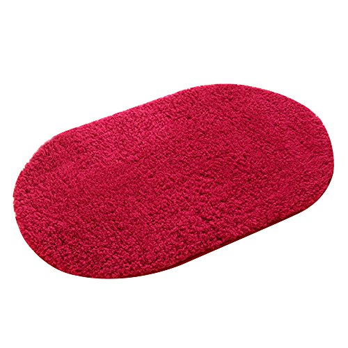Kaimao Oval Non-slip Absorbent Bath Mat Shower Rug for Living room Bedroom Bathroom Decor 40 x 60cm,Thicken Wine Red Color
