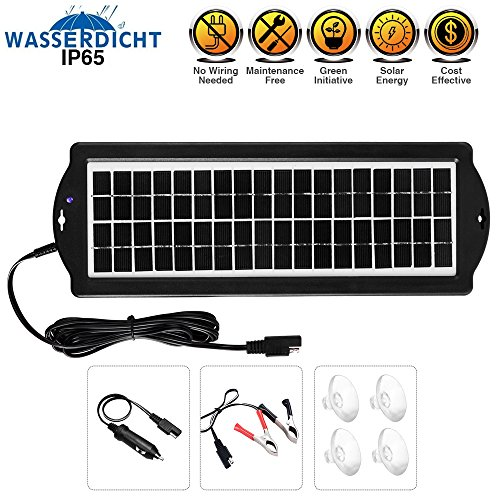 Solar Powered Car Battery Charger 12V - 5