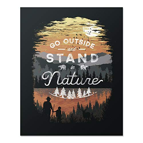 ver Art Print Mountain Forest Trees Outdoor Inspiration Wall Poster Hiking Lake Reflection Home Decor 8 x 10 inches ()