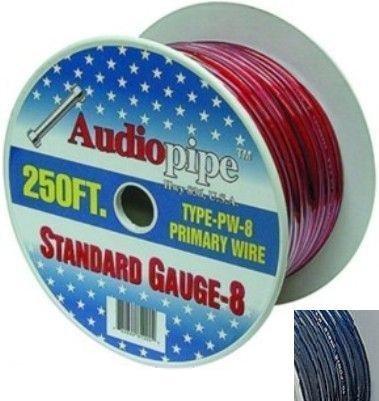Audio Pipe PW8250-BL 250 ft. Oxygen Free Power Wire Roll 8 Gauge - Blue