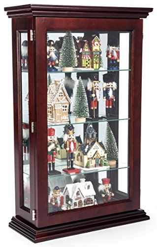 Displays2go, Solid Mahogany Wood, Plywood, & Tempered Glass Construction – Dark Cherry Finish (CC1832CHB) by Displays2go
