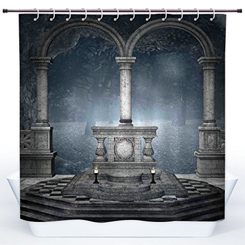 Gothic Altar (SCOCICI Funky Shower Curtain,Gothic,Altar on Checkered Floor in Scary Hazy Winter Forest Spiritual Scenery Illustration,Blue Grey,Polyester Shower Curtains Bathroom Decor Set with Hooks)