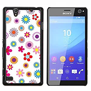 EJOOY---Cubierta de la caja de protección para la piel dura ** Sony Xperia C4 ** --Modelo del papel pintado floral floreciente primavera colorido