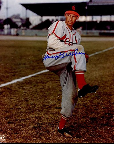 (Harry Brecheen (D. 2004 Nicknamed the Cat) Autographed/Original Signed 8x10 Color Photo Showing Him w/the St. Louis Cardinals in the 1940s)