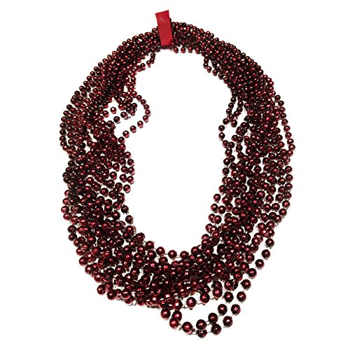 Elite Choice Maroon Party Bead Necklace - Perfect for College Football, Tailgating, Parties and Parades - 12 Beaded Necklaces Per Pack (Maroon) -