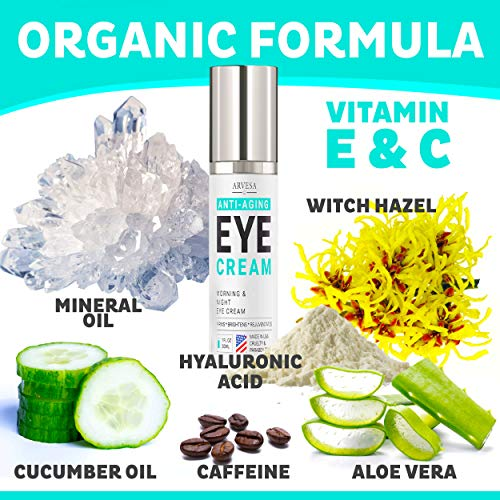 51dJQ O HVL - Anti Aging Eye Cream For Dark Circles and Puffiness - with Hyaluronic Acid - Vitamin C + E - Eye Serum to Reduce Eye Bags - Wrinkles - Fine Lines - Puffiness - for Women & Men - Made in USA