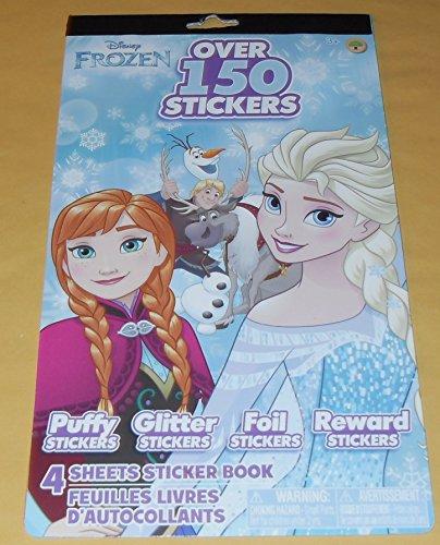 Disney Princess Frozen Elsa & Anna Stickers - 4 Designs - Puffy Stickers, Glitter Stickers, Foil Stickers & Reward Stickers - 150+ Stickers