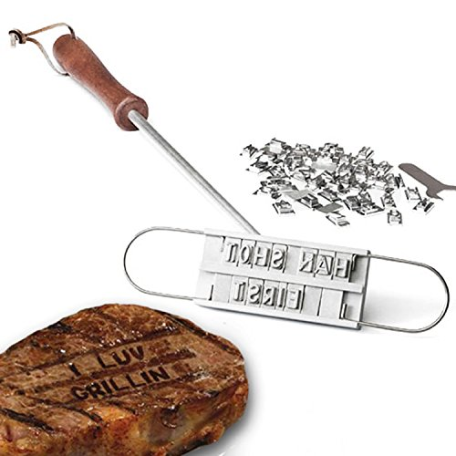 Willcomes DIY BBQ Burger Grill Branding Iron with 55 Changeable Letters Barbecue Names Tool Meat Steak - Wood Kit Branding